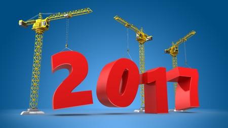 new construction: 3d illustration of cranes building word