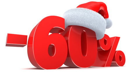 60: 3d illustration of 60 percent discount Christmas sale Stock Photo