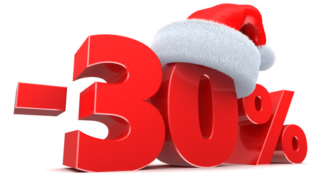 30: 3d illustration of 30 percent Christmas sale sign