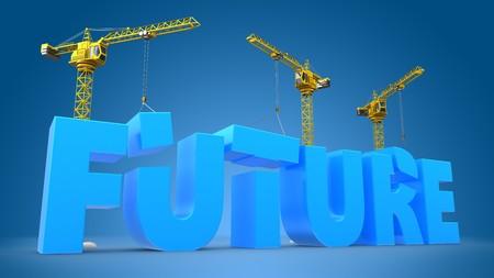 site: 3d illustration of crane building word