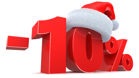 10 month: 3d illustration of Christmas sale 10 percent sign