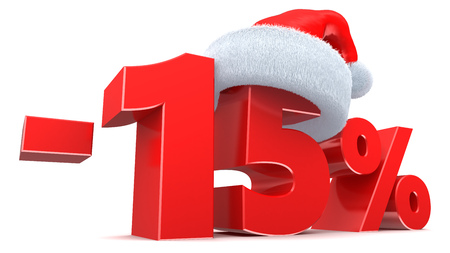 15: 3d illustration of 15 percent Christmas discount sign