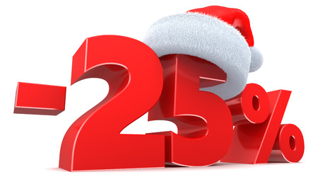3d illustration of Christmas 25 percent discount sign