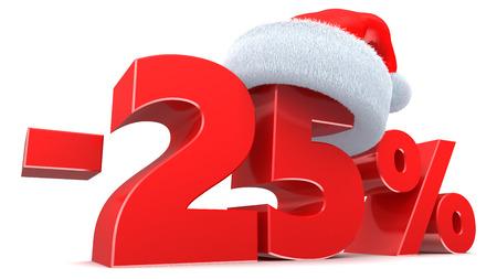 3d illustratie van Kerstmis het teken van de 25 percentenkorting