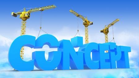 3d illustration of crane building word