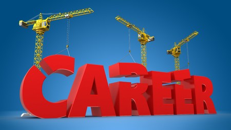 company job: 3d illustration of crane building word