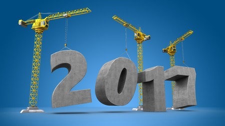 new construction: 3d illustration of crane building word