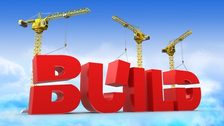 building site: 3d illustration of crane building word
