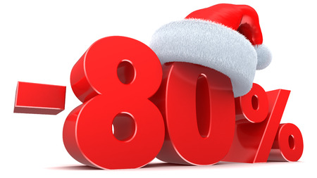 percentage sign: 3d illustration of 80 percent Christmas sale