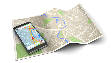 3d illustration of mobile phone navigation icon or concept