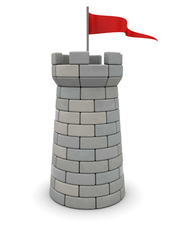 built tower: 3d illustration of tower with red flag