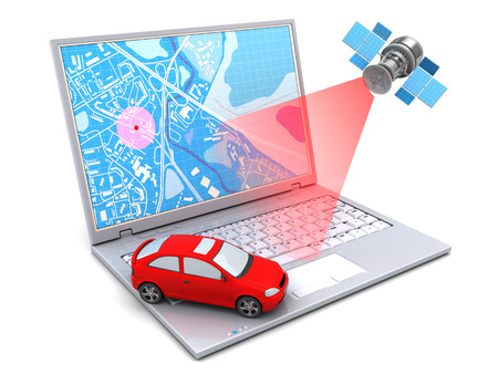 3d illustration of car location tracking with laptop and satellite Imagens