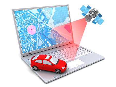 illustrazione 3D di posizione auto di monitoraggio con il computer portatile e satellitare Archivio Fotografico