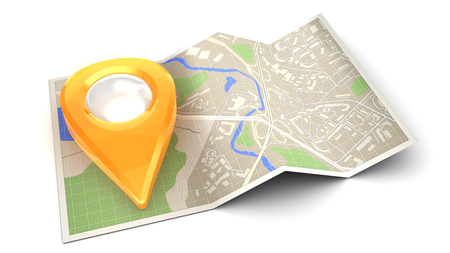 3d illustration of navigation icon with map and pin Stock Photo