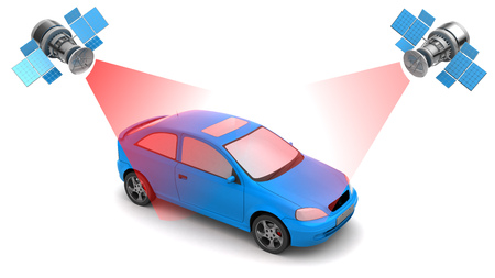 global positioning system: 3d illustration of car location tracking with satellite navigation Stock Photo