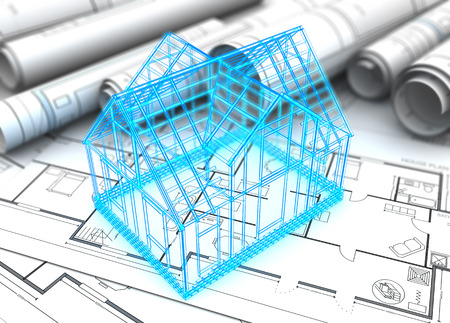 housing project: 3d illustration of house blueprints and wireframe model Stock Photo