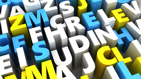 abstract letters: abstract 3d illustration of random letters background Stock Photo