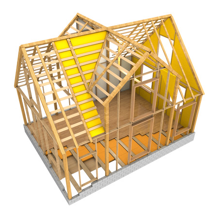 3d illustration of house wooden frame and insulation, isolated over white background Stockfoto