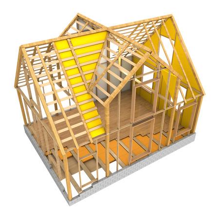 3D-afbeelding van huis houten frame en isolatie, geïsoleerde over witte achtergrond Stockfoto