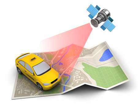 yellow car: 3d illustration of taxi location tracking on map Stock Photo