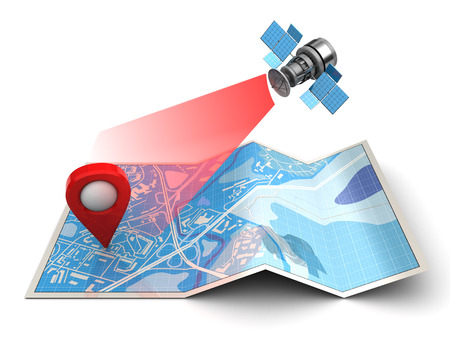 3d illustration of map and satellite - gps navigation conept