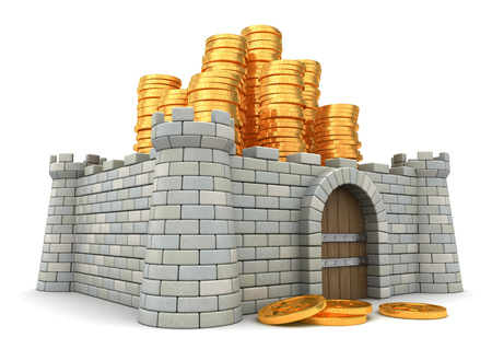 3d illustration of fortress aroun golden coins heap
