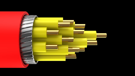 electrical cable: 3d illustration of red and yellow color cable over black background