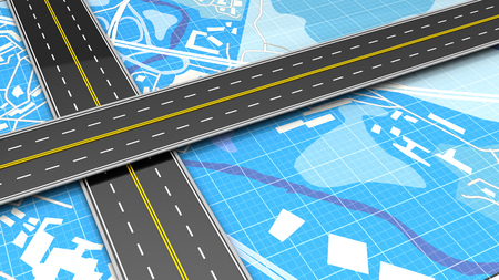 tar: 3d illustration of crossed roads over blue map background