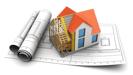 housing project: 3d illustration of house structure model and blueprints