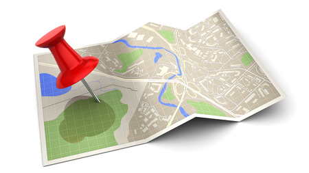 red pin: 3d illustration of map with red pin, over white background Stock Photo