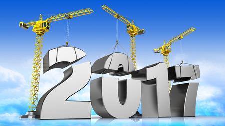 acero: Ilustración 3D de grúas de construcción nueva 2017 sí, por el fondo del cielo
