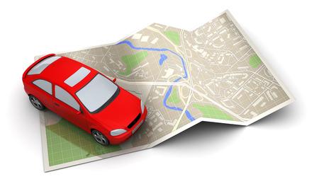 3d illustration of red car and map, navigation concept