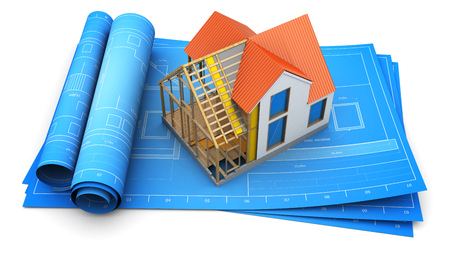 housing project: 3d illustration of modern frame house inside structure design Stock Photo