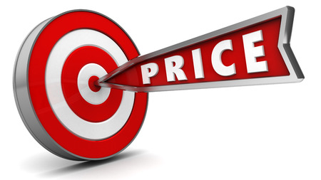 price hit: 3d illustration of arrow with sign price hit target Stock Photo