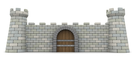 3D-afbeelding van fort voorwand, bescherming en veiligheidsconcept