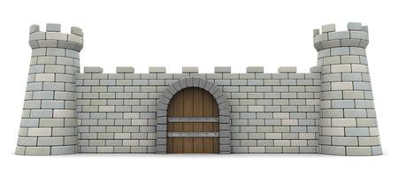 3D ilustracji fortecy przedniej ścianie, koncepcji ochrony i bezpieczeństwa