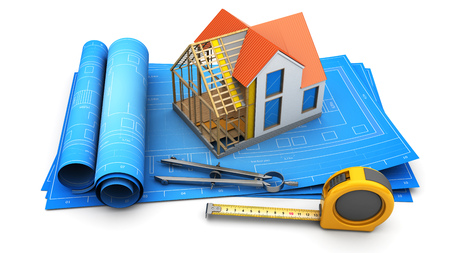 housing project: 3d illustration of house model with inside structure, over blueprints roll