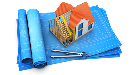 housing project: 3d illustration of frame house design and structure over blueprints Stock Photo