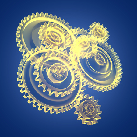 metal drawing: 3d illustration of gear wheels over blue background