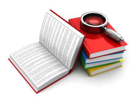 text books: 3d illustration of books, one opened with lorem ipsum text