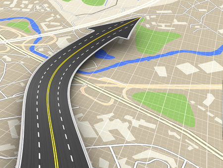 3d illustration of road with arrow sign over map