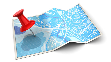 3d illustration of folded city map and red pin, over white background