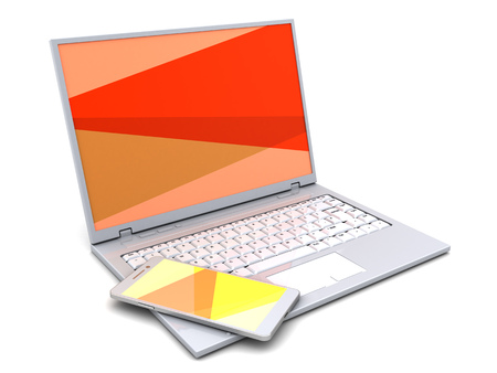 wireless telephone: 3d illustration of white laptop and mobile phone, orange color screen