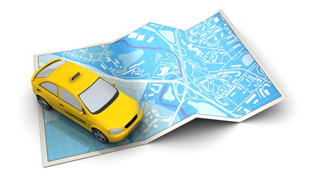 tracking: 3d illustration of city map and taxi vehicle, over white background