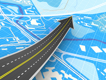3d illustration of road with arrow sign over blue map background