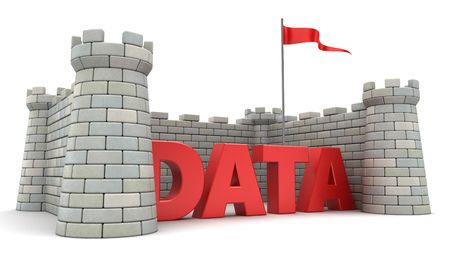 3d illustration of fortress around data sign, information safety concept