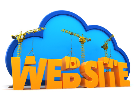 web site: 3d illustration of web site construction over cloud background