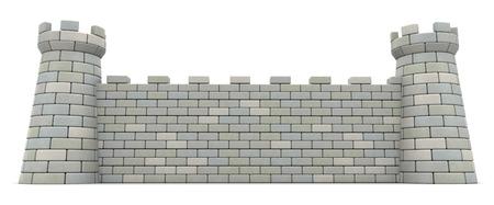 흰색 배경 위에 성벽의 3D 그림