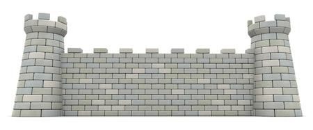 stone wall: 3d illustration of castle wall over white background Stock Photo