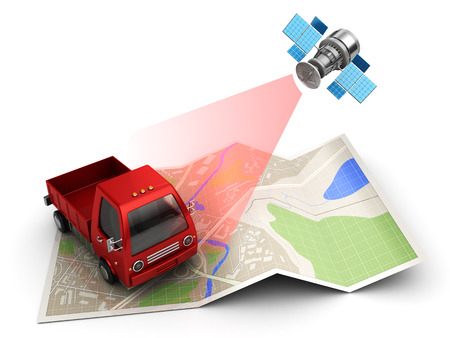 tracking: 3d illustration of satellite cargo or truck tracking concept